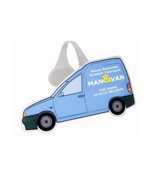 a wobbler display van with corporate branding and contact details