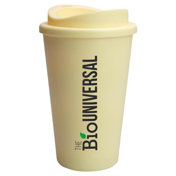 cream travel mug with2 colour eco branding