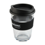 Clear drinks cup with black silicone lid and grip