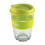 Clear, single walled coffee cup with silicon lid and grip
