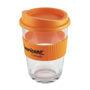 Clear reusable coffee cup with orange lid and grip for promotional giveaways