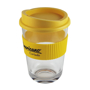 Clear coffee cup to advertise company logo with one colour print to the yellow grip