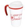 red and white grande thermal mug