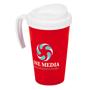 white and red grande thermal mug