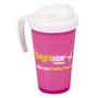 pink and white grande thermal mug