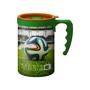 350ml reusable coffee mug with large wrap print with green lid and matching handle