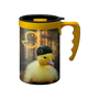 Promotional coffee travel cup with large handle in yellow and matching yellow lidl colour wrap print