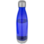 transparent blue aqua sport bottle with a metal lid