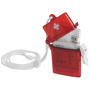 red clear plastic first aid kit partially open