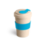 bamboo travel mug with light blue silicone grip and closure
