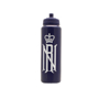 Black 1 litre sports bottle with matching push pull lid and personalised with a printed company logo