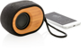 Bamboo X Eco Bluetooth Speaker in bamboo and black with black strap with phone next to it