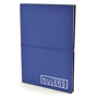 A5 centre PU notebook in blue with black elastic closure strap in the middle and 1 colour print logo