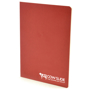 A6 exercise book in red with 1 colour white print logo