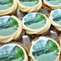 Frosted cupcakes with printed toppers