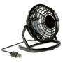 black desk fan with USB cable and round printing panel on the front