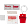 red transparent first aid kit with contents as flat lay