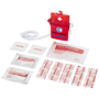 red first aid kit with 2 colour branding and contents displayed