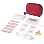angled display of contents of 16 piece first aid kit