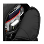 "Felton 16"" Laptop Backpack in black showing inside pockets"