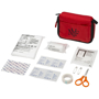 angled display of contents of 19 piece first aid kit
