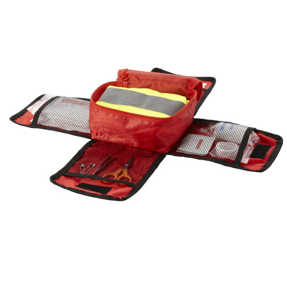 open view of the 19piece first aid kit with safety vest