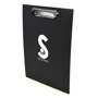 Black clipboard printed with a logo on one side