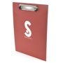 promotional clipboard in red with a logo printed  on the front