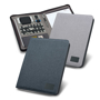 A4 imitation leather notepad organiser in navy with rubber finish closed and open