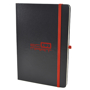 A5 black hardback notebook with red print logo and red elastic closure strap and pen loop