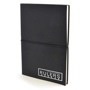 A5 centre PU notebook in black with black elastic closure strap in the middle and 1 colour print logo