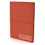 A5 centre PU notebook in red with black elastic closure strap in the middle and 1 colour print logo