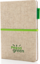 A5 Cotton Notebook in natural with green ribbon, elastic closure strap and label with 2 colour print logo on the front of book