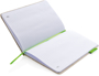 A5 Cotton Notebook  with green ribbon, elastic closure strap and label and white lined pages