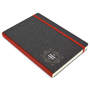 A5 recycled hardback cover with red elastic closing strap and spine, with one colour print logo