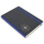 A5 recycled hardback cover with blue elastic closing strap and spine, with one colour print logo