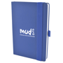 A5 maxi mole notebook in blue with colour matching elastic closure strap and pen loop. 1 colour print logo