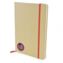 A5 natural recycled notebook with lined pages and red elastic closure strap and 3 colour print logo