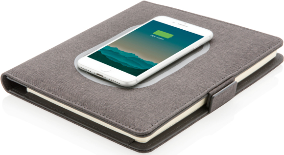 closed view of the a5 wireless charging folder demonstrating wireless charging capability