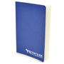 A6 exercise book in blue with 1 colour white print logo