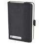 A6 maxi mole notebook in black with colour match elastic closure strap and pen loop with 1 colour white print logo