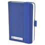 A6 maxi mole notebook in blue with colour match elastic closure strap and pen loop with 1 colour white print logo