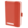 A6 maxi mole notebook in red with colour match elastic closure strap and pen loop with 1 colour white print logo