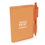 A7 PVC notebooks with orange cover and colour matching pen included and 1 colour print logo