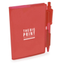 A7 PVC notebooks with red cover and colour matching pen included and 1 colour print logo