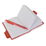 Open A7 PVC notebooks with red cover and colour matching pen included