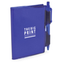 A7 PVC notebooks with blue cover and colour matching pen included and 1 colour print logo