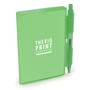 A7 PVC notebooks with green cover and colour matching pen included and 1 colour print logo