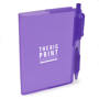 A7 PVC notebooks with purple cover and colour matching pen included and 1 colour print logo