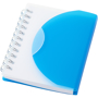 A7 wiro notebook with blue fold-over cover